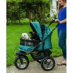 No-Zip Double Pet Stroller - Pine Green