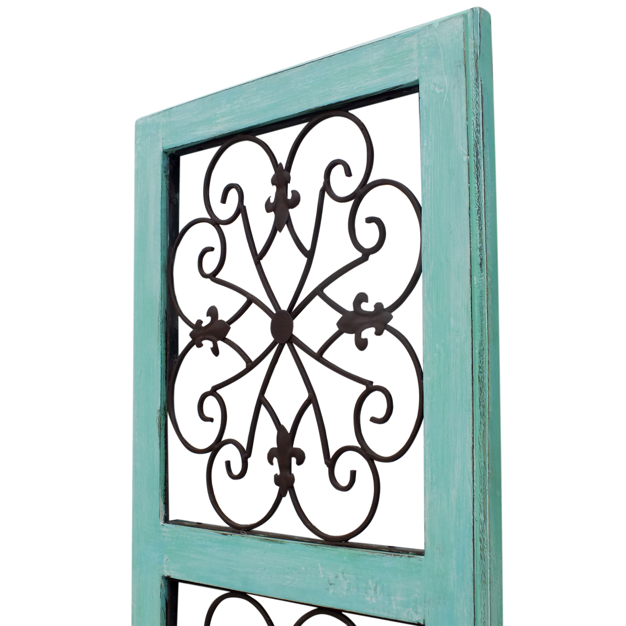 Wall Panel Traditional Mango Wood Framed With Metal Scroll Work Details