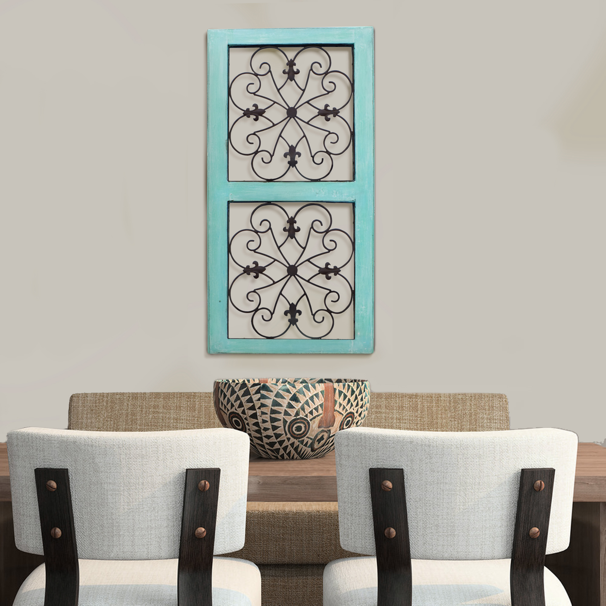 Wall Panel Traditional Mango Wood Framed With Metal Scroll Work Details, Green And Brown