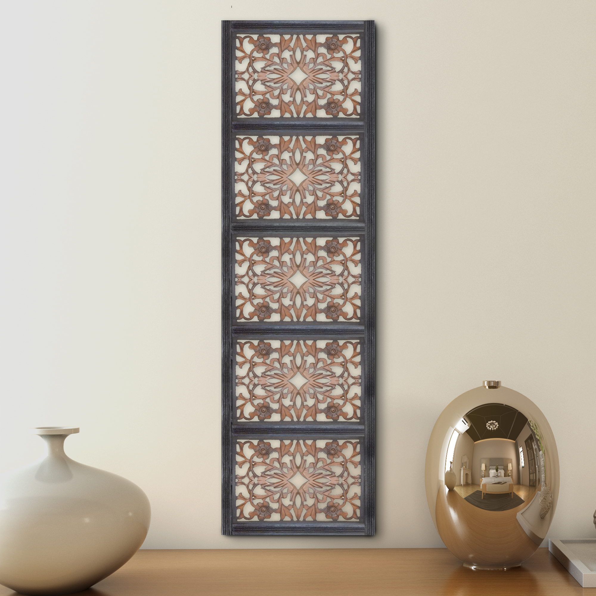 Wall Panel Rectangular Art Design With Intricate Floral Carvings Design, Burnt Black