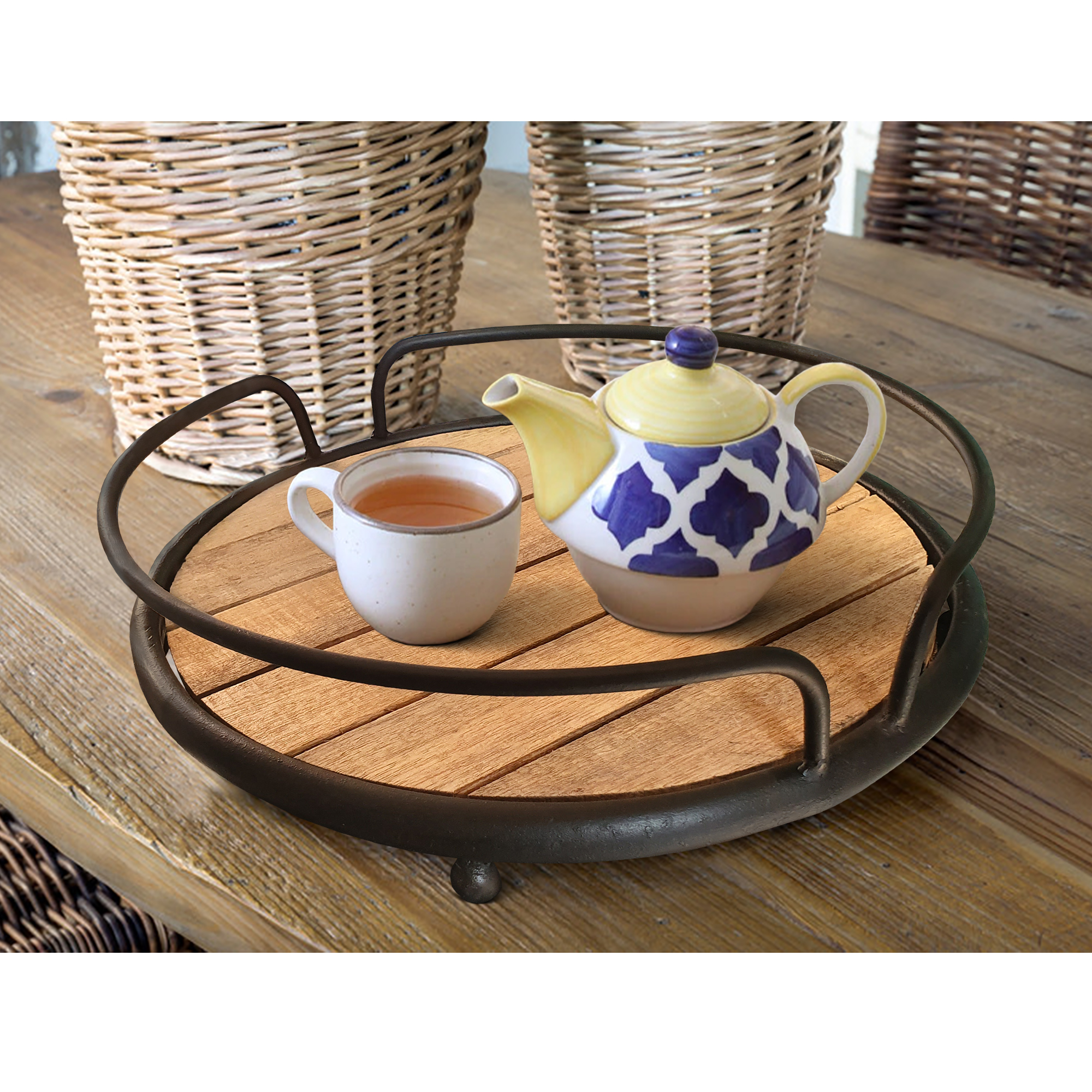 Round Serving Tray Tubular Metal Frame Plank Style Wooden Base, Brown And Black