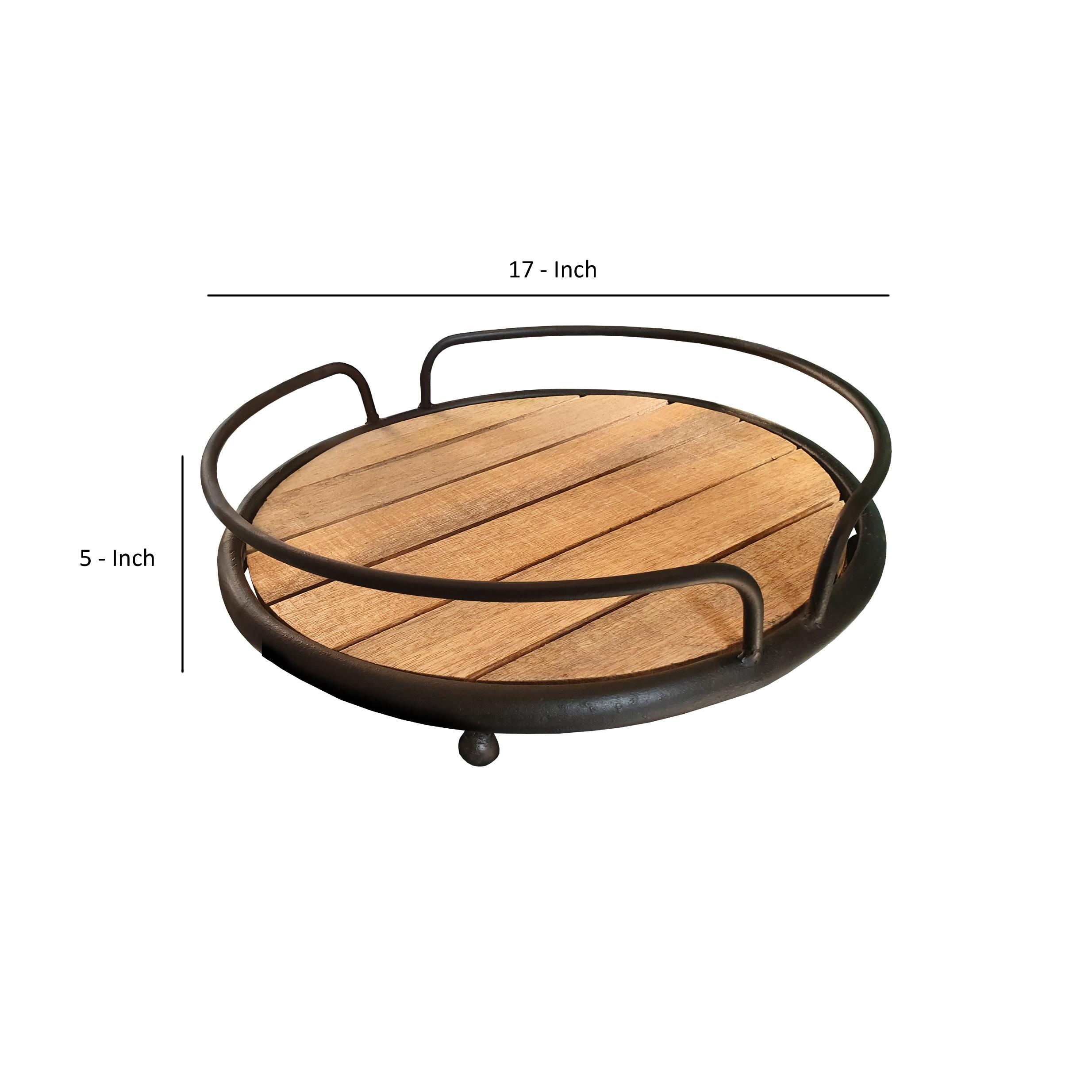 Round Serving Tray Tubular Metal Frame Plank Style Wooden Base