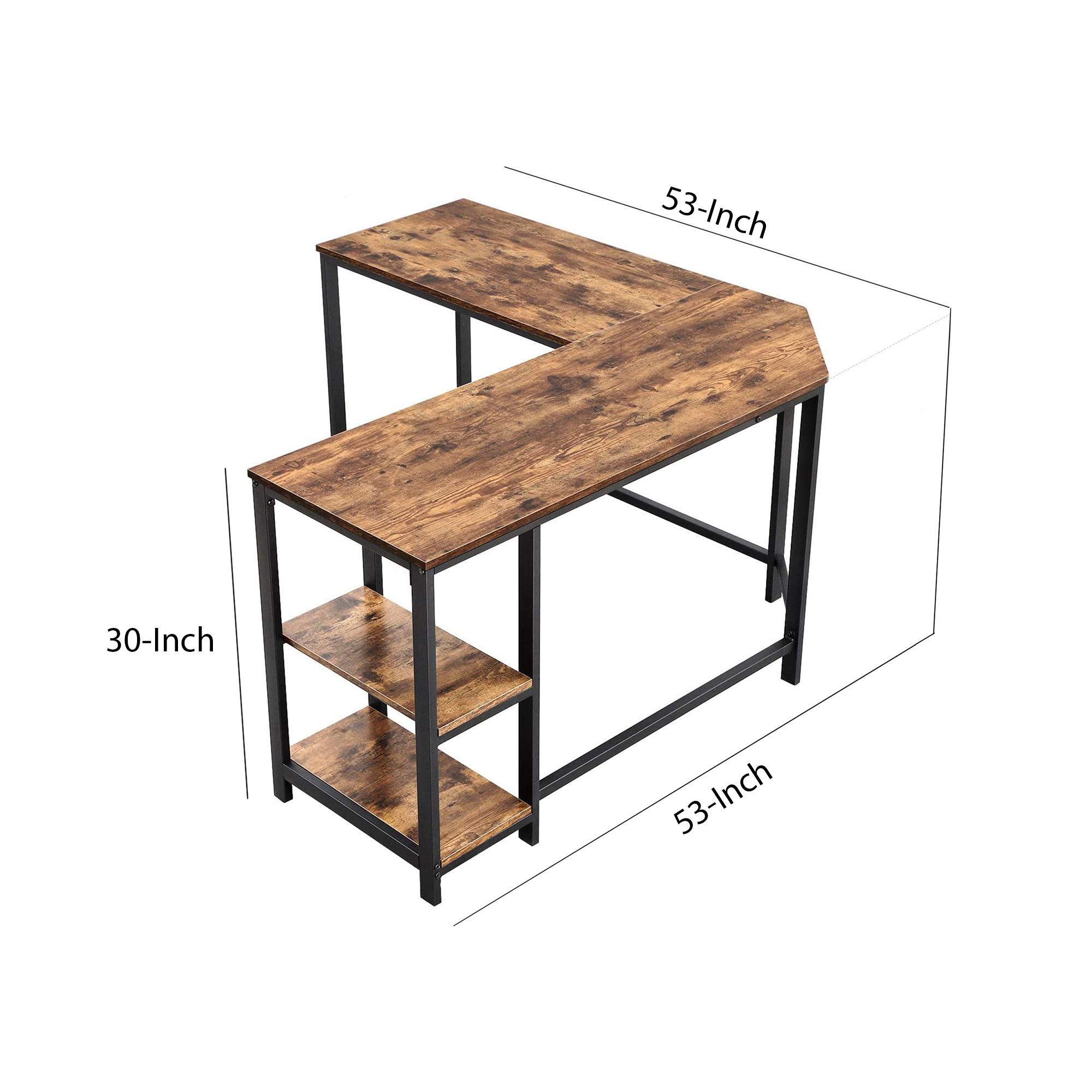 Computer Desk Wood And Metal Frame L-Shape With 2 Shelves