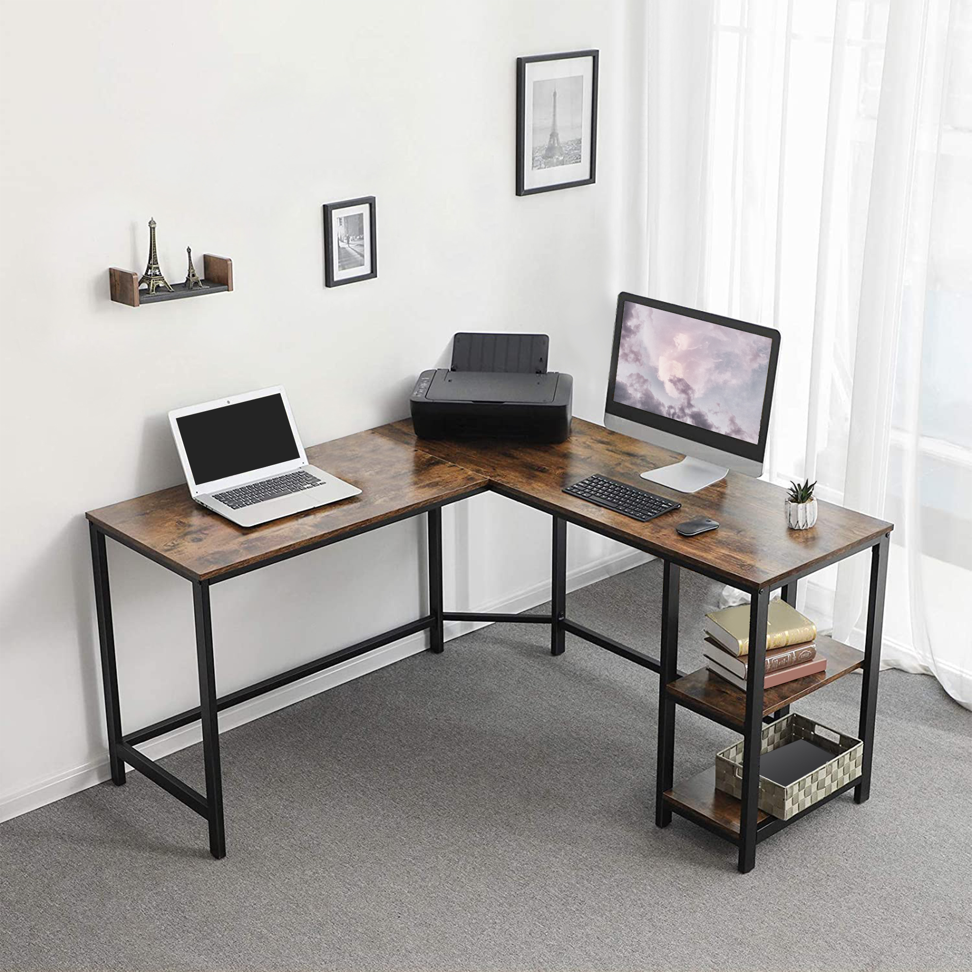 Computer Desk Wood And Metal Frame L-Shape With 2 Shelves, Brown And Black