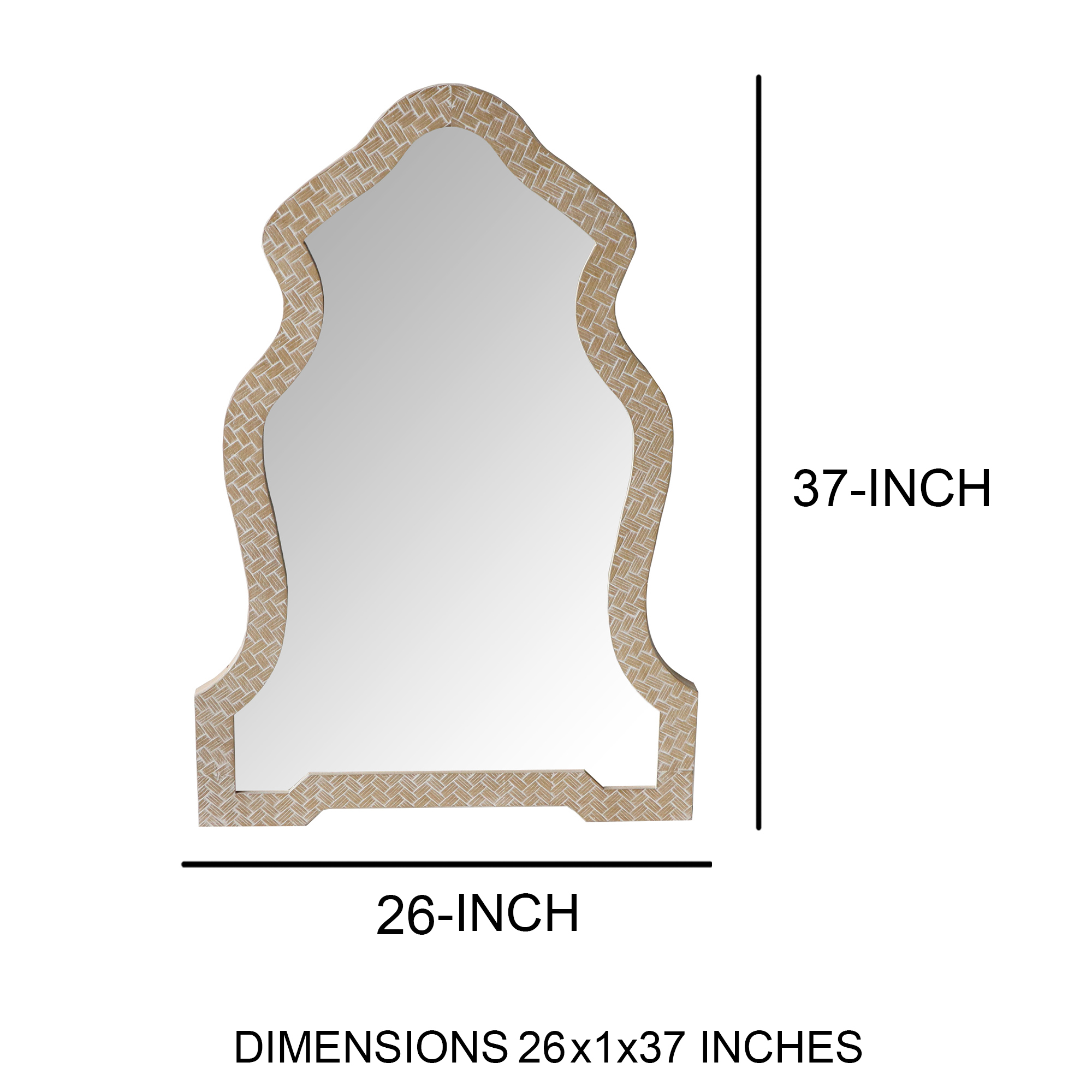 Scalloped Top Wooden Framed Wall Mirror