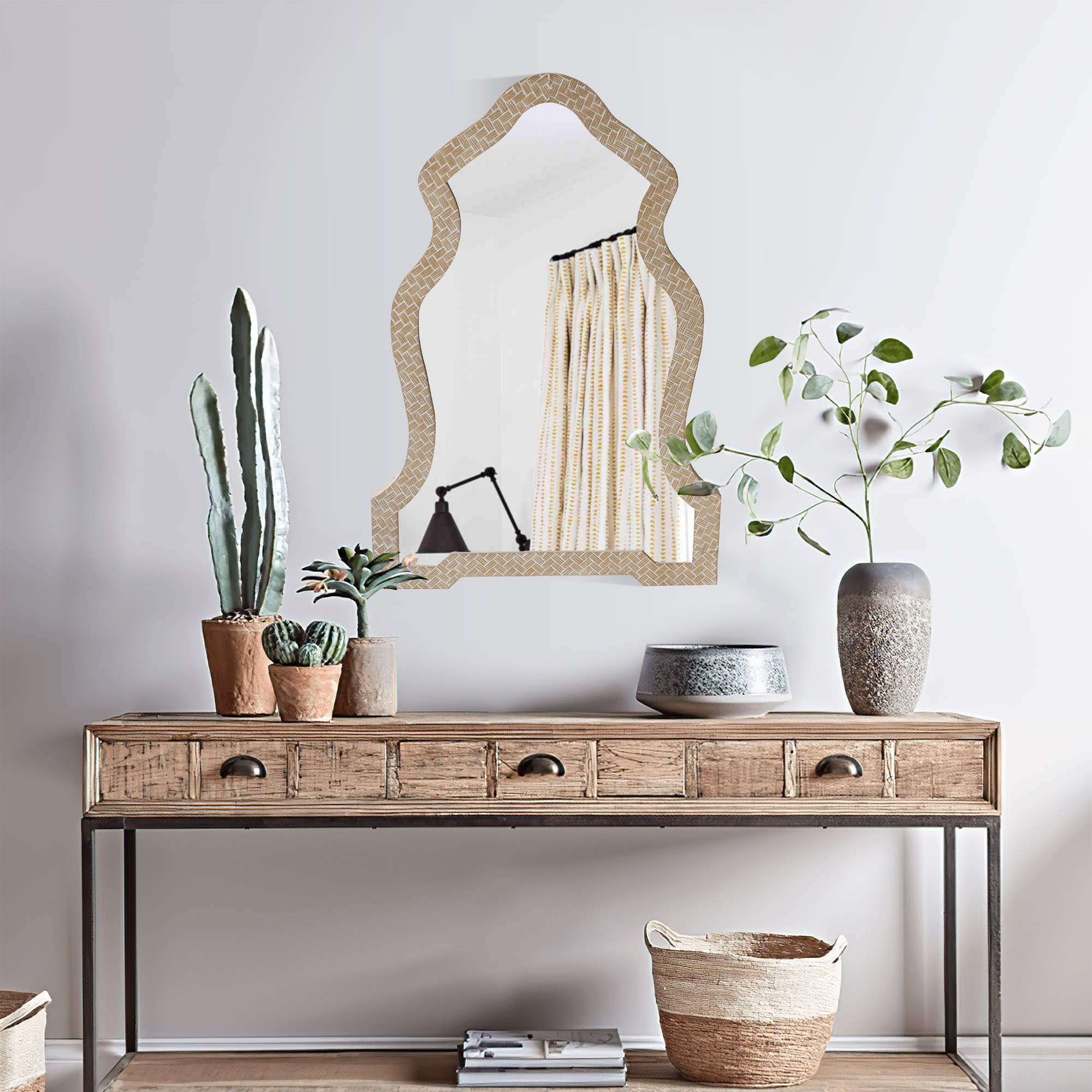 Scalloped Top Wooden Framed Wall Mirror Dunawest With Geometric Texture - Sand Brown 37 x 26 x 1 Inch