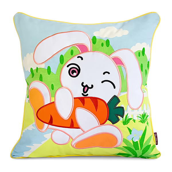 Pillow Cushion Cartoon Embroidered Bunny & Carrot Art Design Floor Cushion (19.7 By 19.7 Inches)