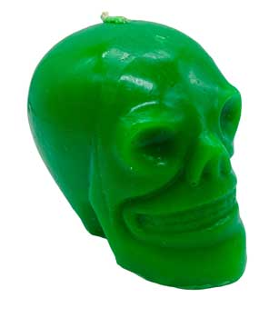 Green Skull Candle 3 1/2