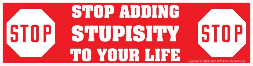 Stop Adding Stupisity To Your Life Bumper Sticker