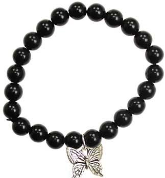 Black Obsidian Hope Butterfly Silver