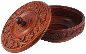 Wooden Ritual Bowl W/ Lid
