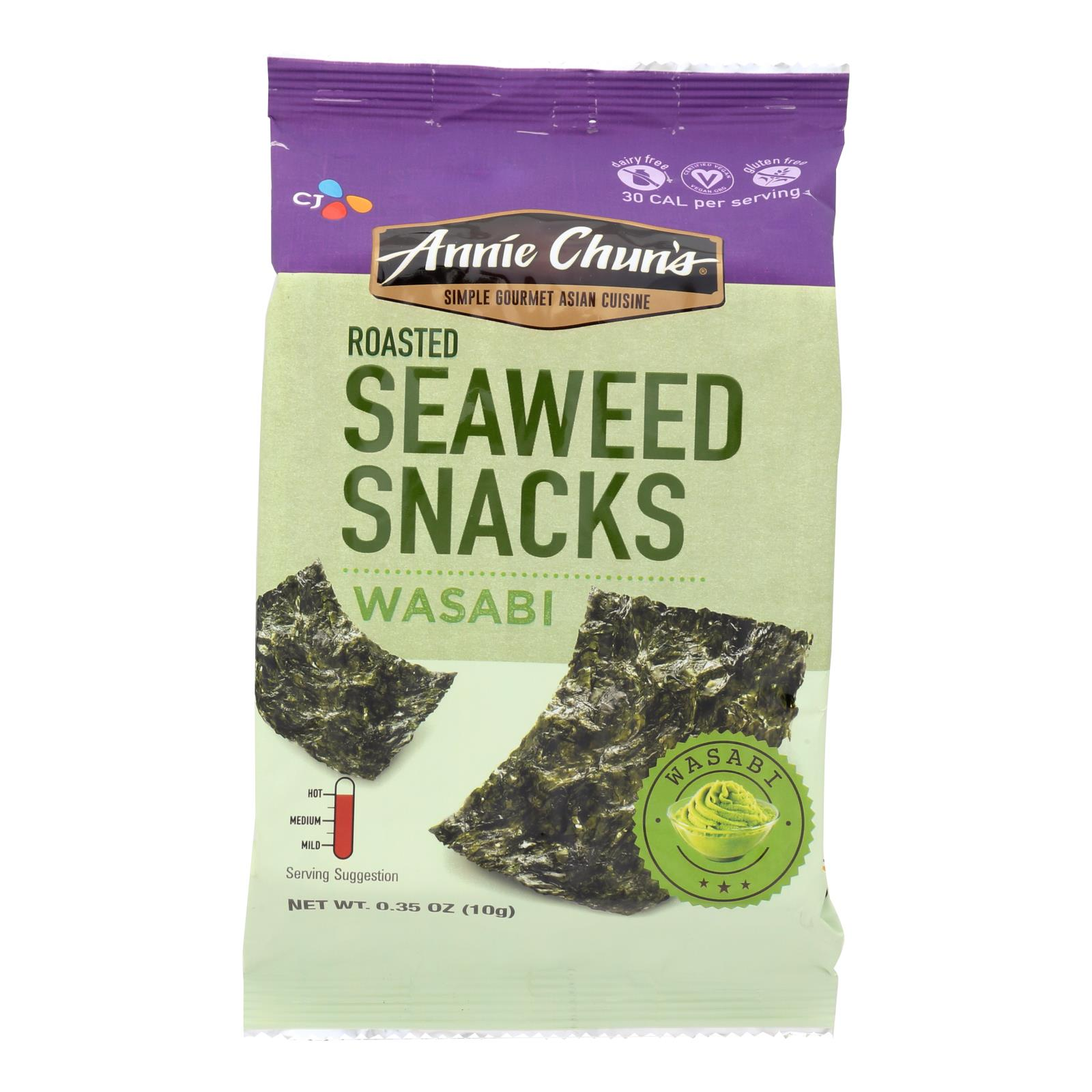 Details about Annie Chun's Seaweed Snacks Roasted Wasabi - Case Of 12 -  0 35 Oz