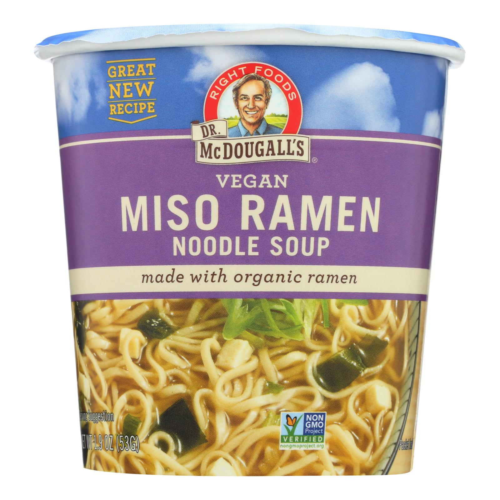 dr. mcdougall's vegan miso ramen soup big cup with noodles